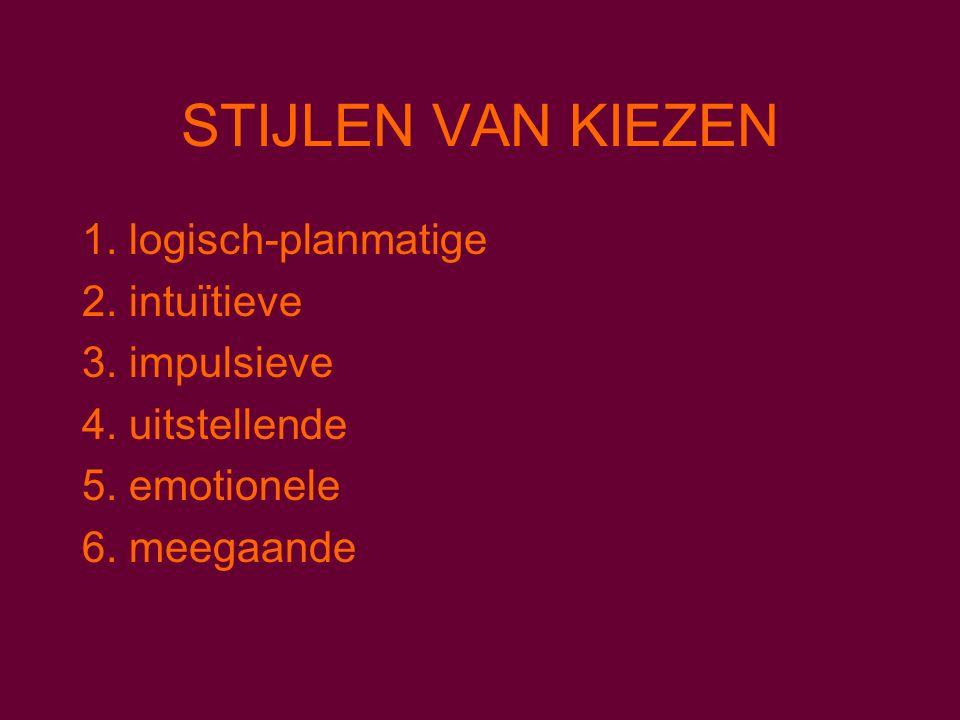 STIJLEN VAN KIEZEN 1. logisch-planmatige 2. intuïtieve 3.