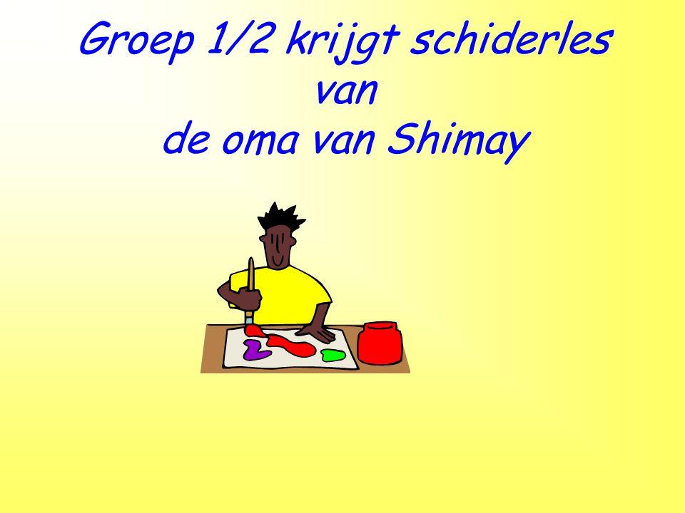 Groep 1/2 krijgt schiderles van de oma van Shimay