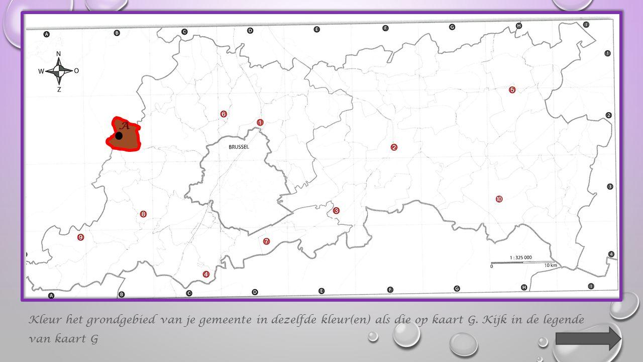 Kleur het grondgebied van je gemeente in dezelfde kleur(en) als die op kaart G.