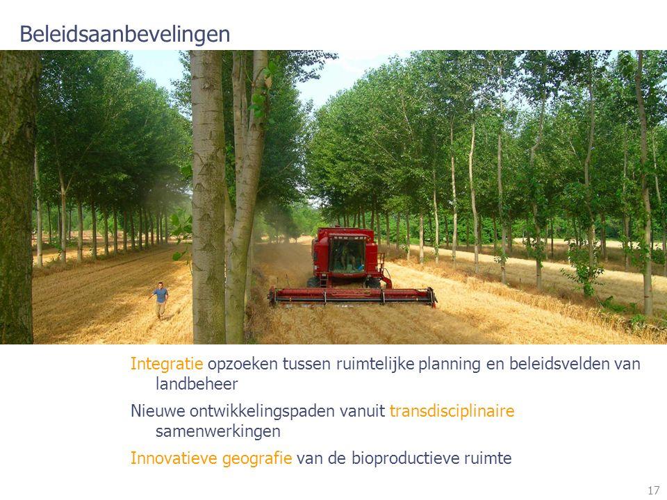 17 Beleidsaanbevelingen Integratie opzoeken tussen ruimtelijke planning en beleidsvelden van landbeheer Nieuwe ontwikkelingspaden vanuit transdisciplinaire samenwerkingen Innovatieve geografie van de bioproductieve ruimte