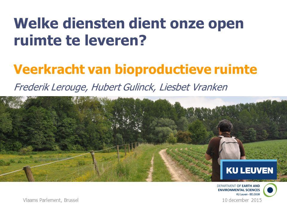 Vlaams Parlement, Brussel 10 december 2015 Welke diensten dient onze open ruimte te leveren.
