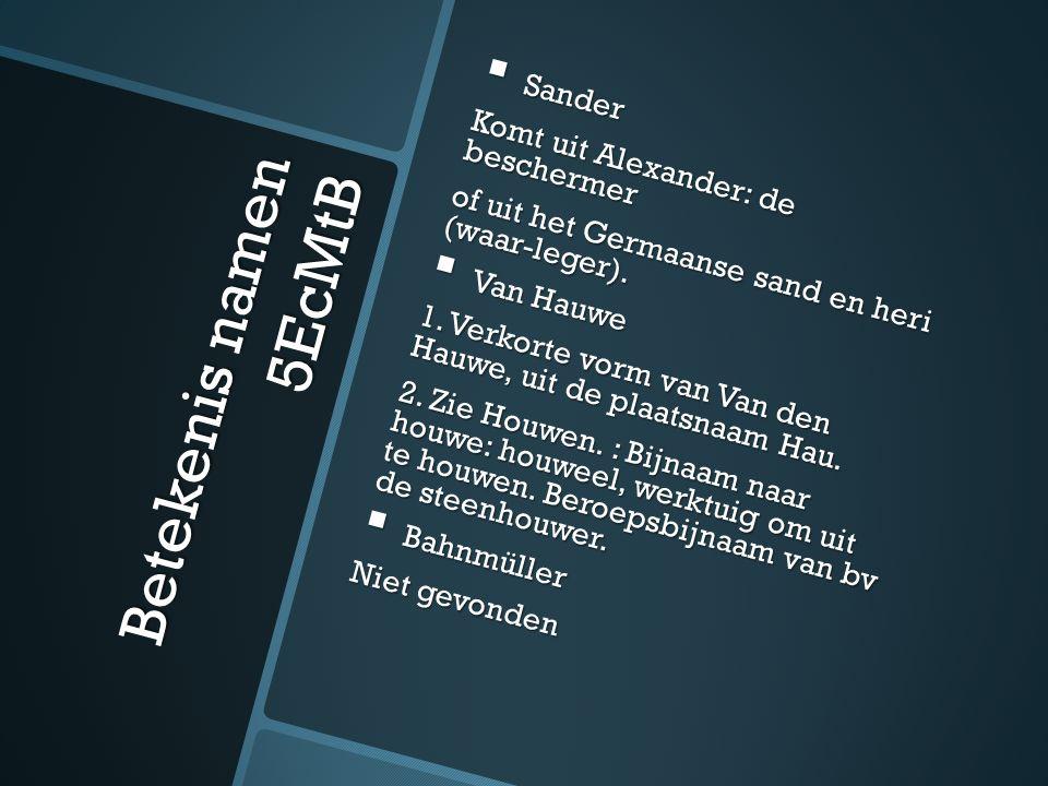 Betekenis namen 5EcMtB  Sander Komt uit Alexander: de beschermer of uit het Germaanse sand en heri (waar-leger).