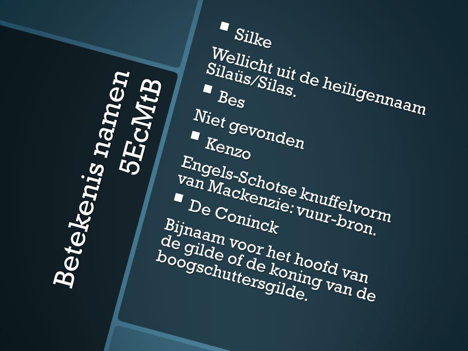 Betekenis namen 5EcMtB  Silke Wellicht uit de heiligennaam Silaüs/Silas.