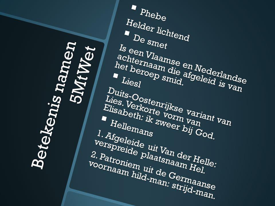 Betekenis namen 5MtWet  Phebe Helder lichtend  De smet Is een Vlaamse en Nederlandse achternaam die afgeleid is van het beroep smid.