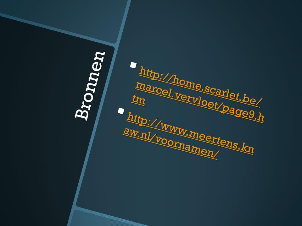 Bronnen  http://home.scarlet.be/ marcel.vervloet/page9.h tm http://home.scarlet.be/ marcel.vervloet/page9.h tm http://home.scarlet.be/ marcel.vervloet/page9.h tm  http://www.meertens.kn aw.nl/voornamen/ http://www.meertens.kn aw.nl/voornamen/ http://www.meertens.kn aw.nl/voornamen/