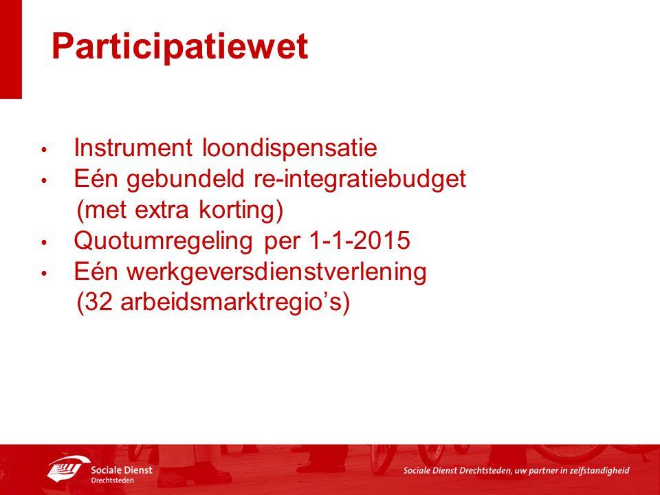 Participatiewet Instrument loondispensatie Eén gebundeld re-integratiebudget (met extra korting) Quotumregeling per 1-1-2015 Eén werkgeversdienstverlening (32 arbeidsmarktregio's)
