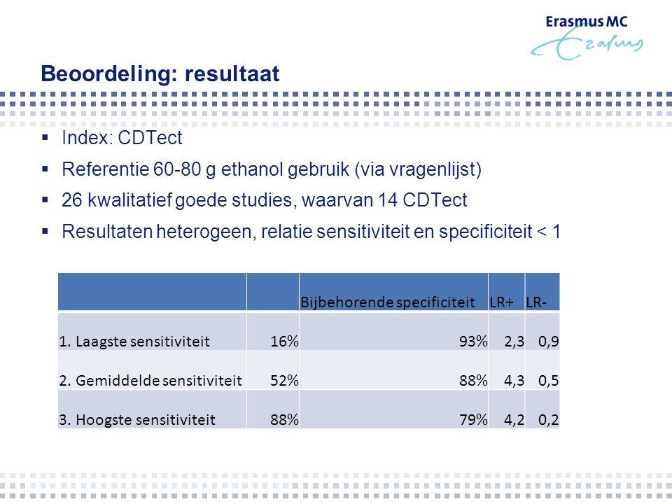 Beoordeling: resultaat  Index: CDTect  Referentie 60-80 g ethanol gebruik (via vragenlijst)  26 kwalitatief goede studies, waarvan 14 CDTect  Resultaten heterogeen, relatie sensitiviteit en specificiteit < 1 Bijbehorende specificiteitLR+LR- 1.