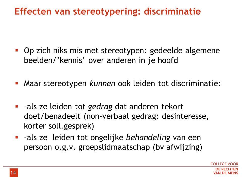 14 Effecten van stereotypering: discriminatie  Op zich niks mis met stereotypen: gedeelde algemene beelden/'kennis' over anderen in je hoofd  Maar stereotypen kunnen ook leiden tot discriminatie:  -als ze leiden tot gedrag dat anderen tekort doet/benadeelt (non-verbaal gedrag: desinteresse, korter soll.gesprek)  -als ze leiden tot ongelijke behandeling van een persoon o.g.v.