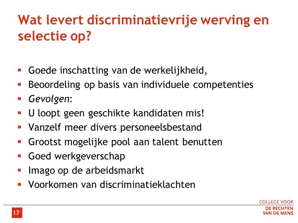 Wat levert discriminatievrije werving en selectie op.