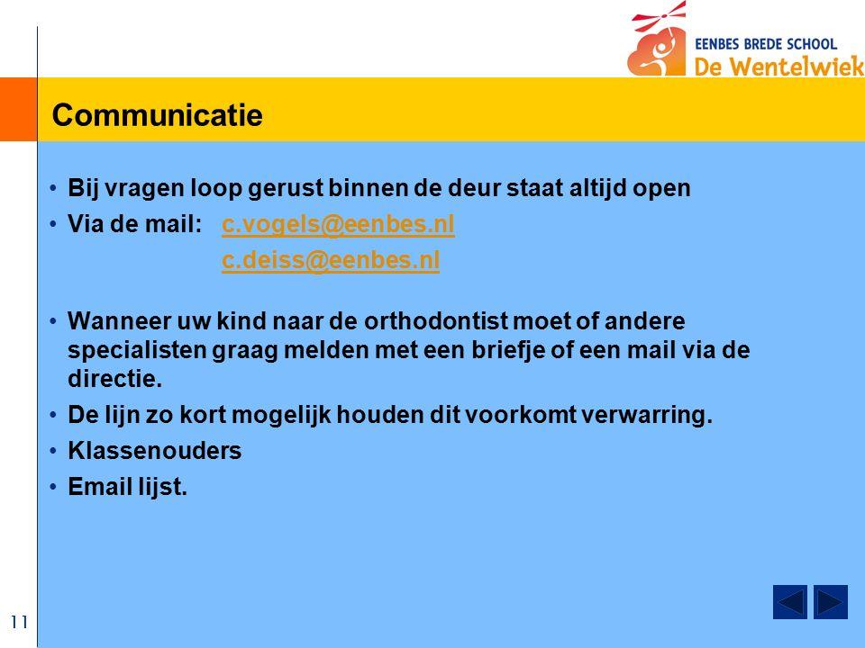 11 Communicatie Bij vragen loop gerust binnen de deur staat altijd open Via de mail: c.vogels@eenbes.nlc.vogels@eenbes.nl c.deiss@eenbes.nl Wanneer uw