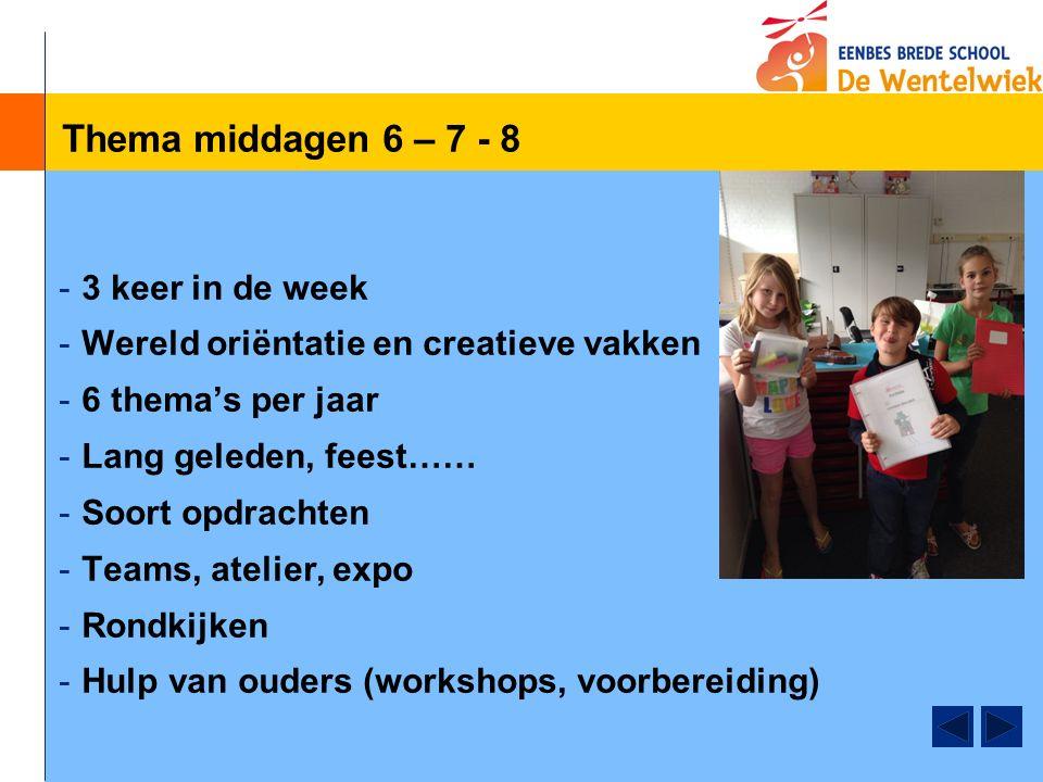 Thema middagen 6 – 7 - 8 -3 keer in de week -Wereld oriëntatie en creatieve vakken -6 thema's per jaar -Lang geleden, feest…… -Soort opdrachten -Teams, atelier, expo -Rondkijken -Hulp van ouders (workshops, voorbereiding)