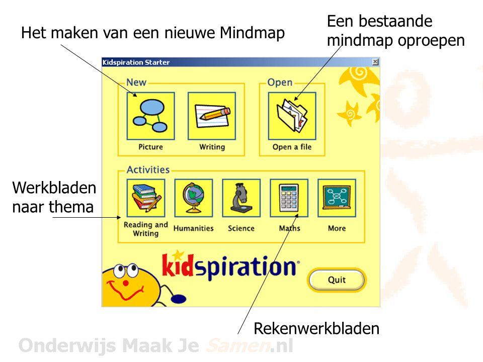 Rekenwerkbladen Het maken van een nieuwe Mindmap Een bestaande mindmap oproepen Werkbladen naar thema