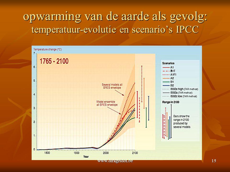 www.dirkgeldof.be15 opwarming van de aarde als gevolg: temperatuur-evolutie en scenario's IPCC
