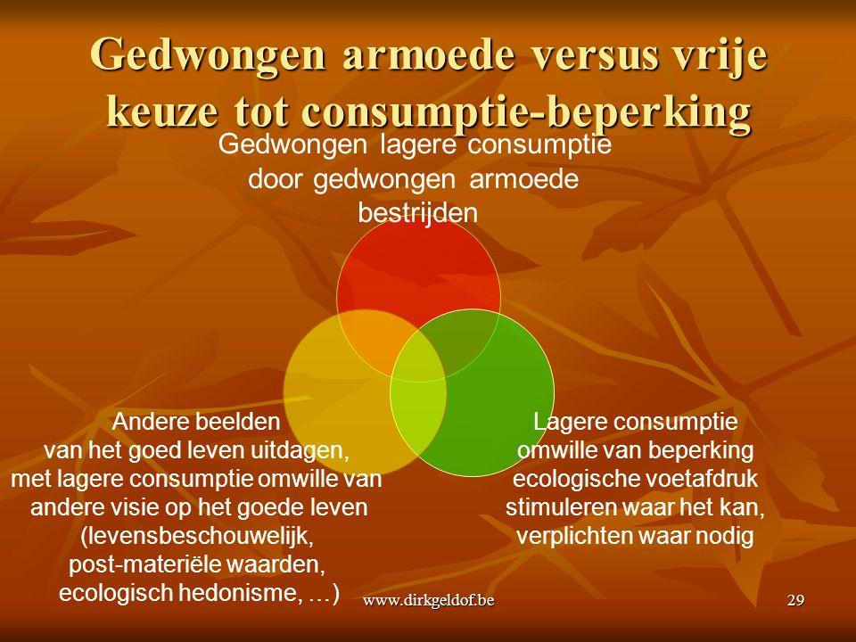 www.dirkgeldof.be29 Gedwongen armoede versus vrije keuze tot consumptie-beperking Gedwongen lagere consumptie door gedwongen armoede bestrijden Lagere consumptie omwille van beperking ecologische voetafdruk stimuleren waar het kan, verplichten waar nodig Andere beelden van het goed leven uitdagen, met lagere consumptie omwille van andere visie op het goede leven (levensbeschouwelijk, post-materiële waarden, ecologisch hedonisme, …)
