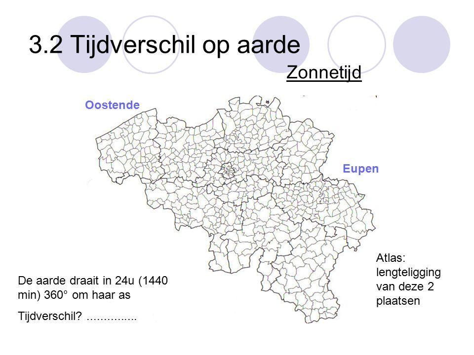 3.2 Tijdverschil op aarde Zonnetijd Eupen Oostende De aarde draait in 24u (1440 min) 360° om haar as Tijdverschil?............... Atlas: lengteligging