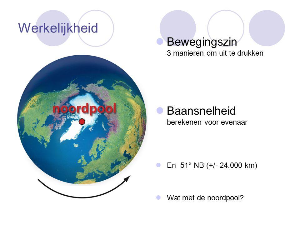 Werkelijkheid Bewegingszin 3 manieren om uit te drukken Baansnelheid berekenen voor evenaar En 51° NB (+/- 24.000 km) Wat met de noordpool?