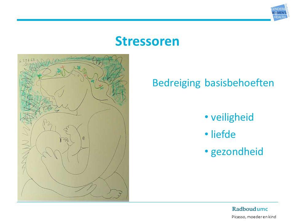 Bedreiging basisbehoeften veiligheid liefde gezondheid Picasso, moeder en kind Stressoren