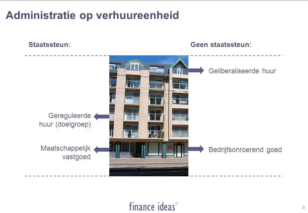 5 Administratie op verhuureenheid Geliberaliseerde huur Gereguleerde huur (doelgroep) Bedrijfsonroerend goed Staatssteun:Geen staatssteun: Maatschappelijk vastgoed