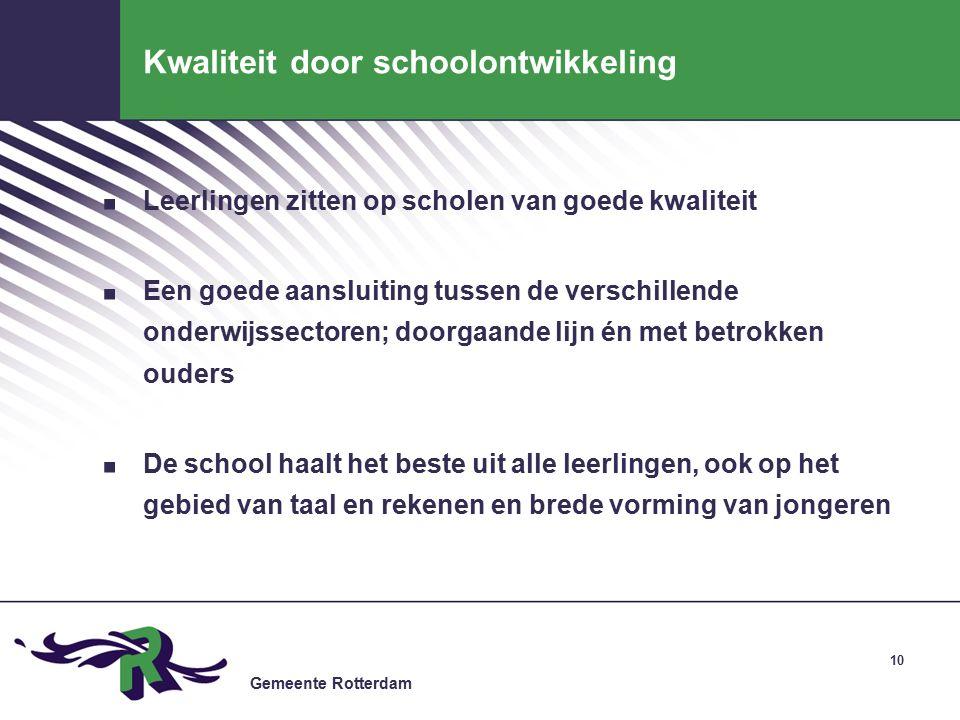 Gemeente Rotterdam Kwaliteit door schoolontwikkeling.