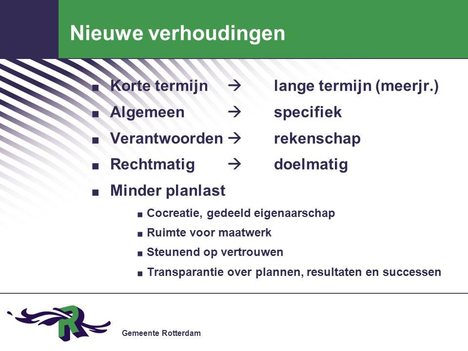 Gemeente Rotterdam Nieuwe verhoudingen. Korte termijn  lange termijn (meerjr.).