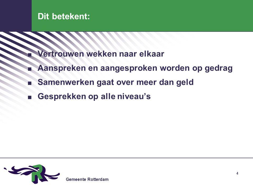 Gemeente Rotterdam Dit betekent:. Vertrouwen wekken naar elkaar.