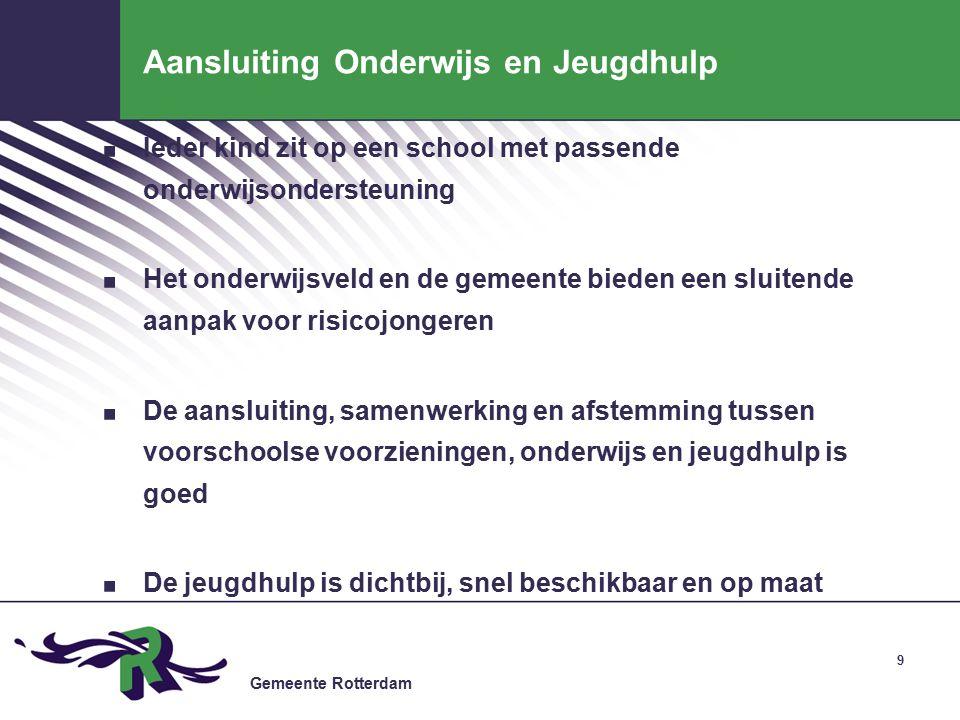 Gemeente Rotterdam Aansluiting Onderwijs en Jeugdhulp.