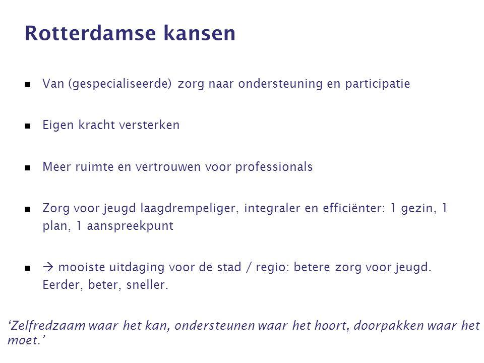 Rotterdamse kansen Van (gespecialiseerde) zorg naar ondersteuning en participatie Eigen kracht versterken Meer ruimte en vertrouwen voor professionals Zorg voor jeugd laagdrempeliger, integraler en efficiënter: 1 gezin, 1 plan, 1 aanspreekpunt  mooiste uitdaging voor de stad / regio: betere zorg voor jeugd.