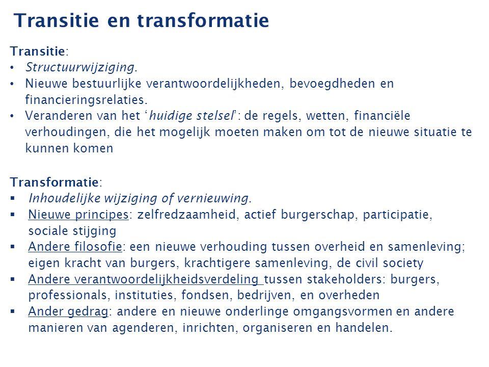 Transformatie in de praktijk Nieuwe verhoudingen Ambities van de stelselwijziging kunnen alleen worden gerealiseerd wanneer ook de transformatie in de dagelijkse praktijk vorm krijgt.