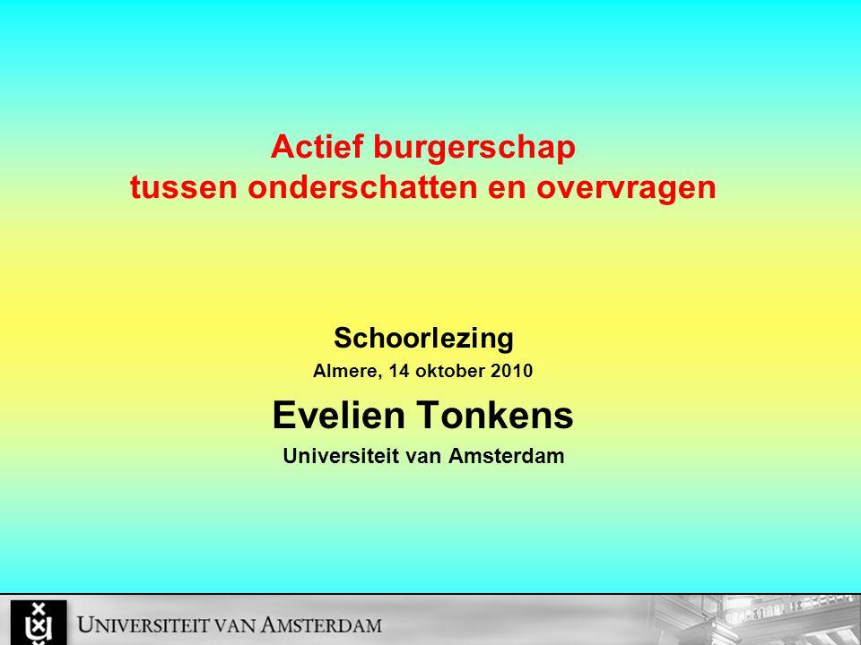 Actief burgerschap tussen onderschatten en overvragen Schoorlezing Almere, 14 oktober 2010 Evelien Tonkens Universiteit van Amsterdam