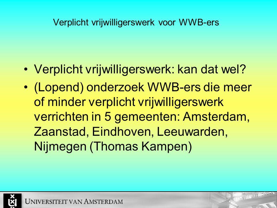Verplicht vrijwilligerswerk voor WWB-ers Verplicht vrijwilligerswerk: kan dat wel? (Lopend) onderzoek WWB-ers die meer of minder verplicht vrijwillige