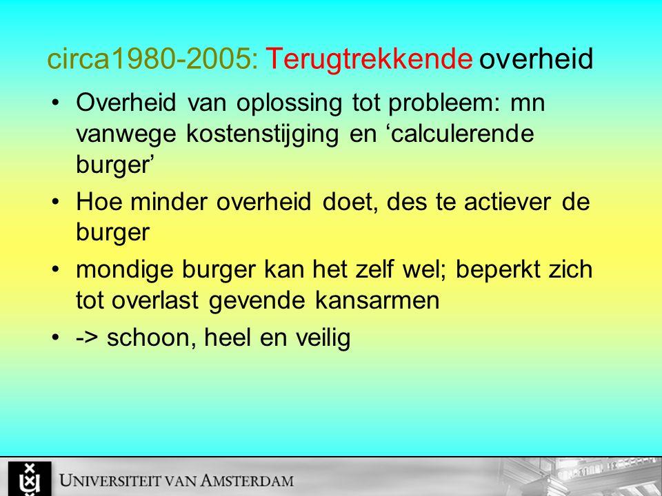 circa1980-2005: Terugtrekkende overheid Overheid van oplossing tot probleem: mn vanwege kostenstijging en 'calculerende burger' Hoe minder overheid do