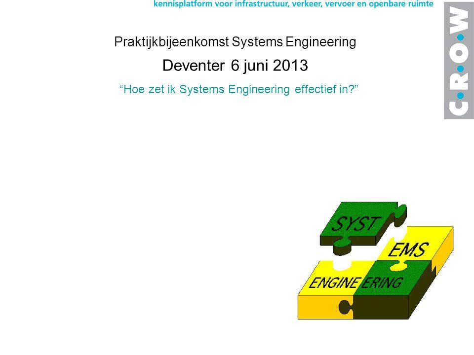 Hoe zet ik Systems Engineering effectief in? Praktijkbijeenkomst Systems Engineering Deventer 6 juni 2013 Wat horen we voor geluiden uit de markt?