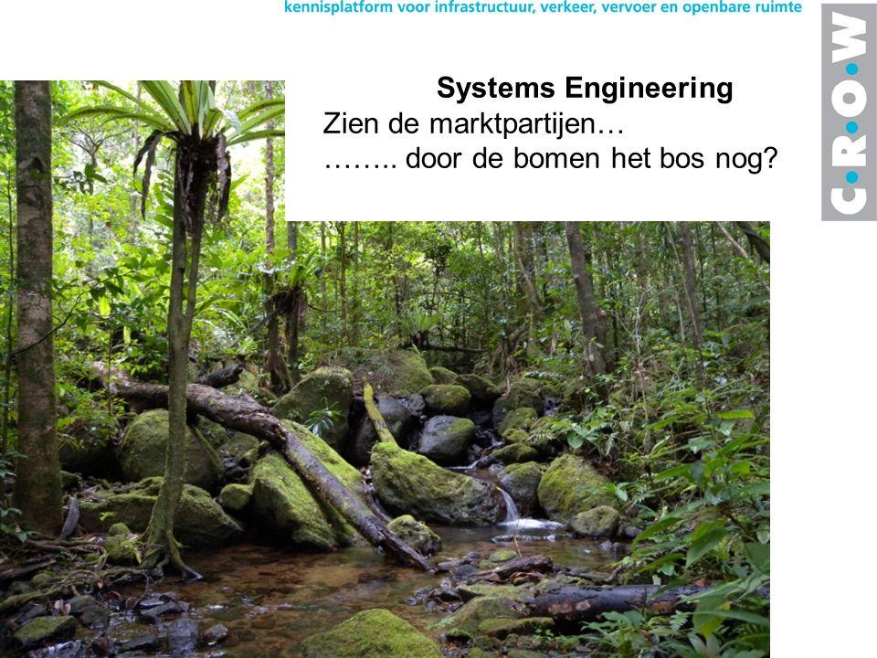 Systems Engineering Zien de marktpartijen… …….. door de bomen het bos nog