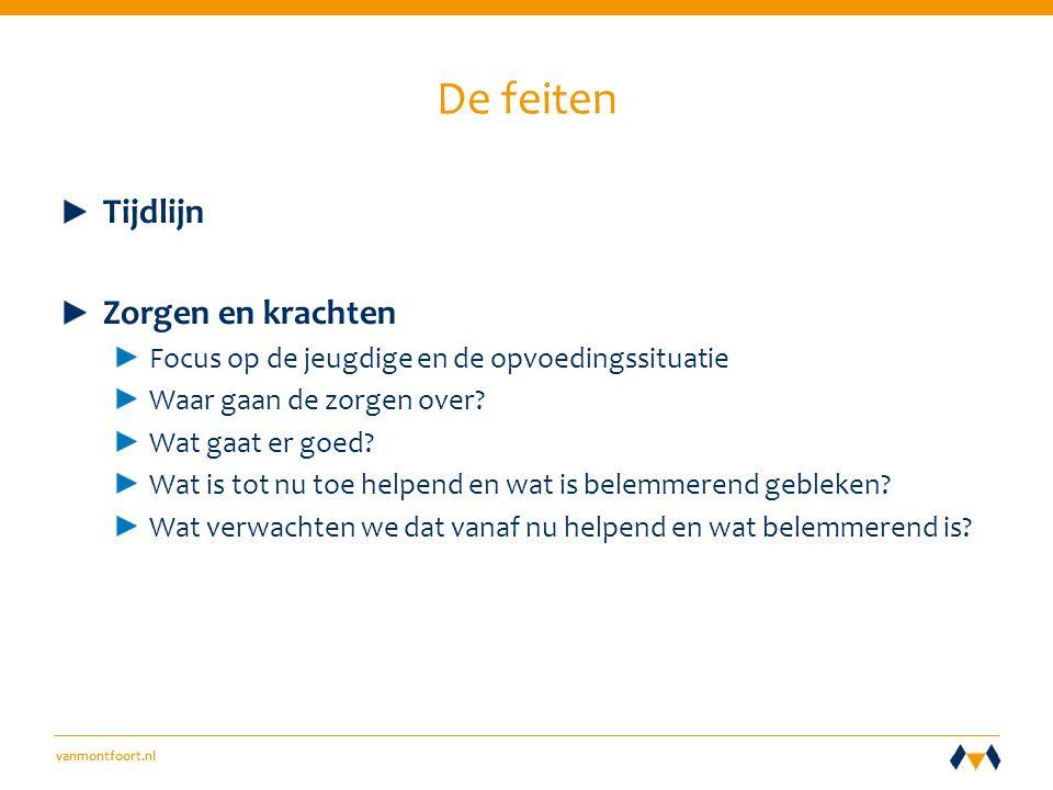 vanmontfoort.nl De feiten Tijdlijn Zorgen en krachten Focus op de jeugdige en de opvoedingssituatie Waar gaan de zorgen over.