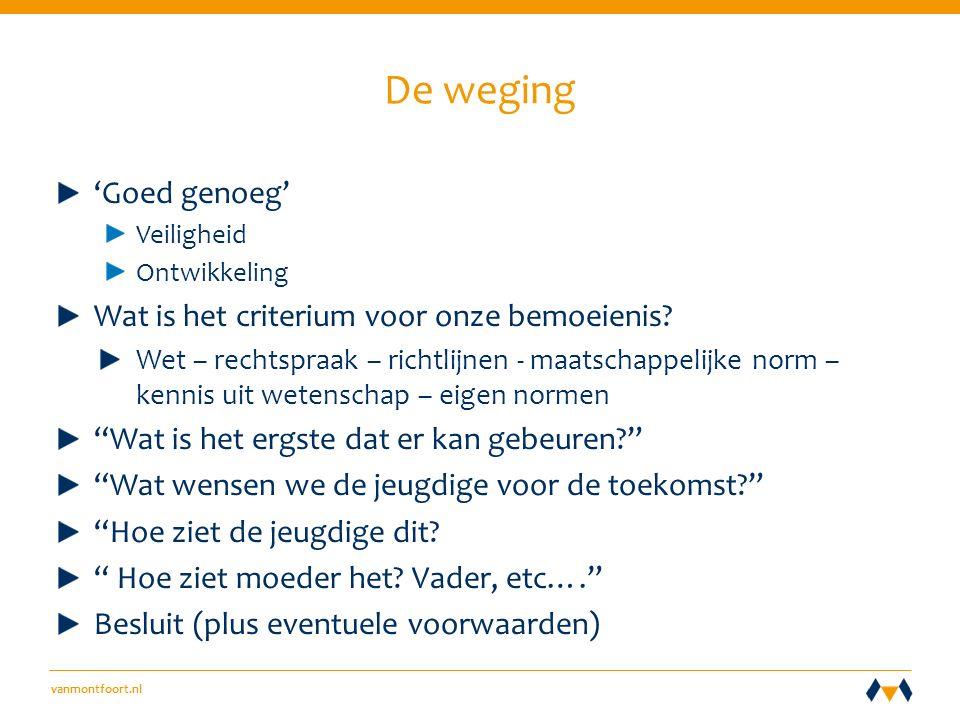 vanmontfoort.nl De weging 'Goed genoeg' Veiligheid Ontwikkeling Wat is het criterium voor onze bemoeienis.