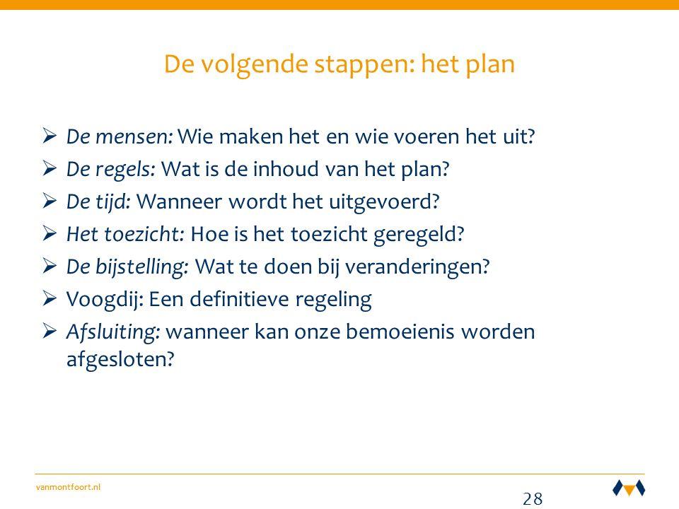 vanmontfoort.nl De volgende stappen: het plan  De mensen: Wie maken het en wie voeren het uit.