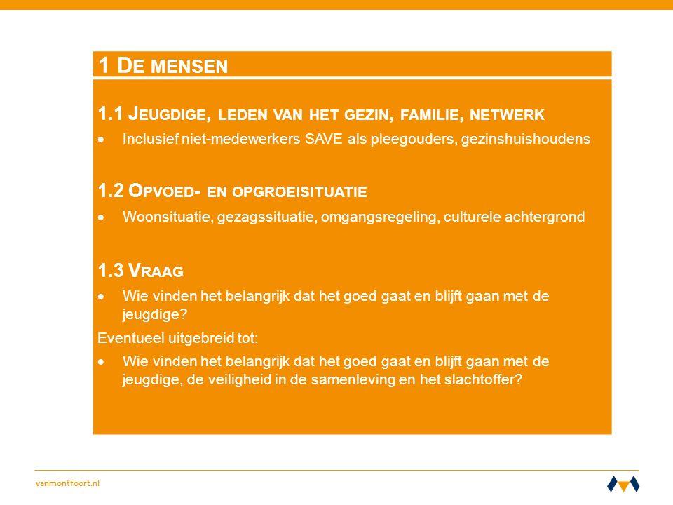vanmontfoort.nl 1 D E MENSEN 1.1 J EUGDIGE, LEDEN VAN HET GEZIN, FAMILIE, NETWERK  Inclusief niet-medewerkers SAVE als pleegouders, gezinshuishoudens 1.2 O PVOED - EN OPGROEISITUATIE  Woonsituatie, gezagssituatie, omgangsregeling, culturele achtergrond 1.3 V RAAG  Wie vinden het belangrijk dat het goed gaat en blijft gaan met de jeugdige.