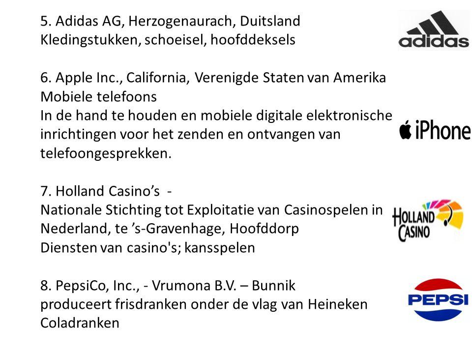 5. Adidas AG, Herzogenaurach, Duitsland Kledingstukken, schoeisel, hoofddeksels 6. Apple Inc., California, Verenigde Staten van Amerika Mobiele telefo