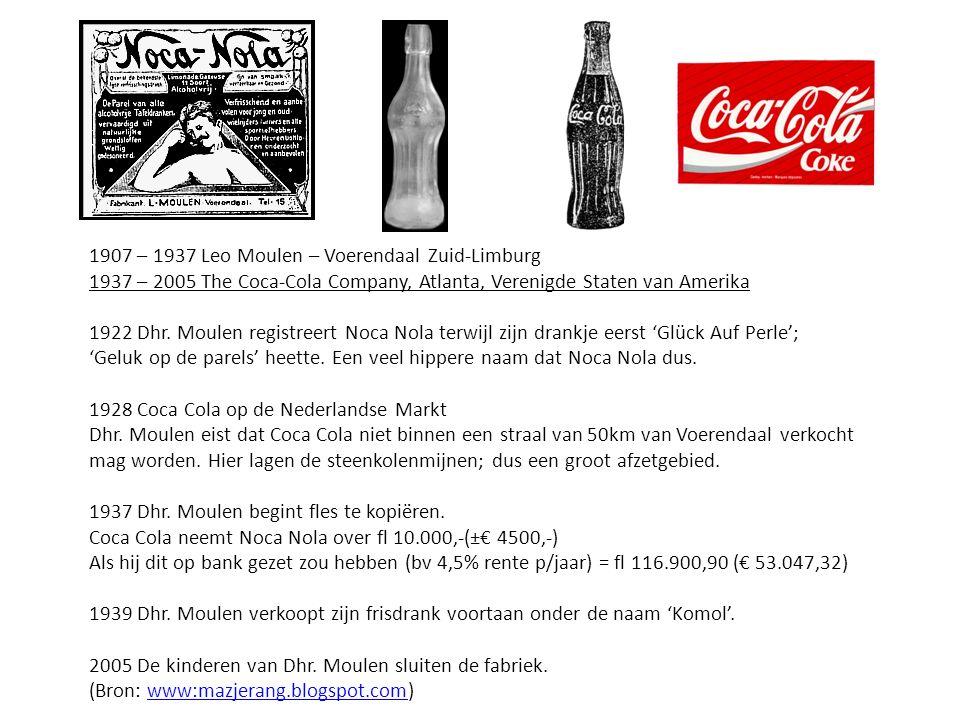 1907 – 1937 Leo Moulen – Voerendaal Zuid-Limburg 1937 – 2005 The Coca-Cola Company, Atlanta, Verenigde Staten van Amerika 1922 Dhr. Moulen registreert