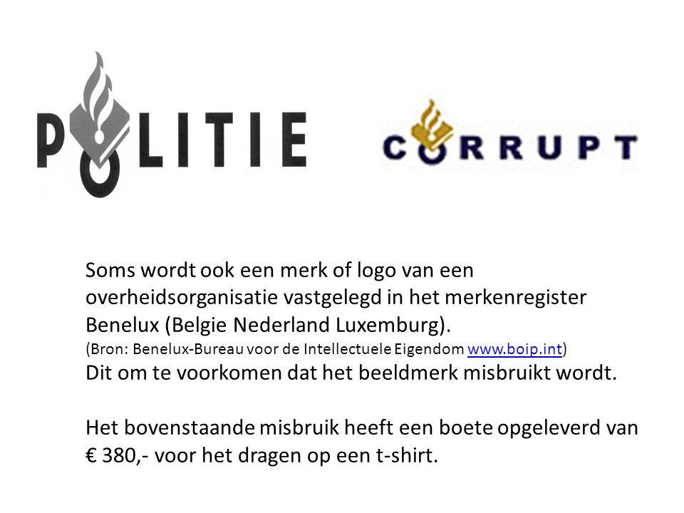 Soms wordt ook een merk of logo van een overheidsorganisatie vastgelegd in het merkenregister Benelux (Belgie Nederland Luxemburg). (Bron: Benelux-Bur