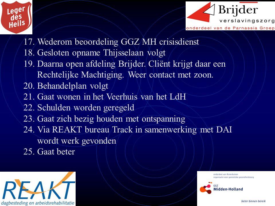 18.Gesloten opname Thijsselaan volgt 19.Daarna open afdeling Brijder.