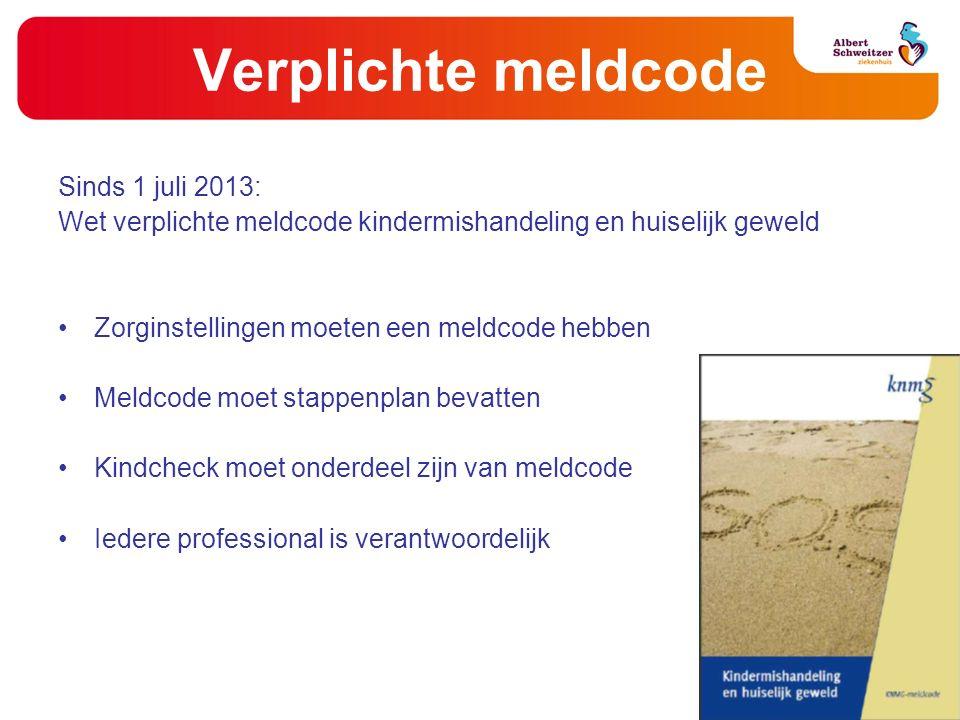 Verplichte meldcode Sinds 1 juli 2013: Wet verplichte meldcode kindermishandeling en huiselijk geweld Zorginstellingen moeten een meldcode hebben Meld
