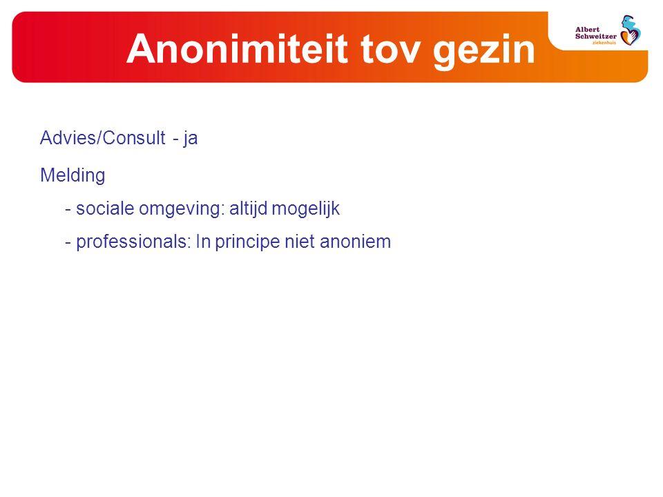 Anonimiteit tov gezin Advies/Consult- ja Melding - sociale omgeving: altijd mogelijk - professionals: In principe niet anoniem