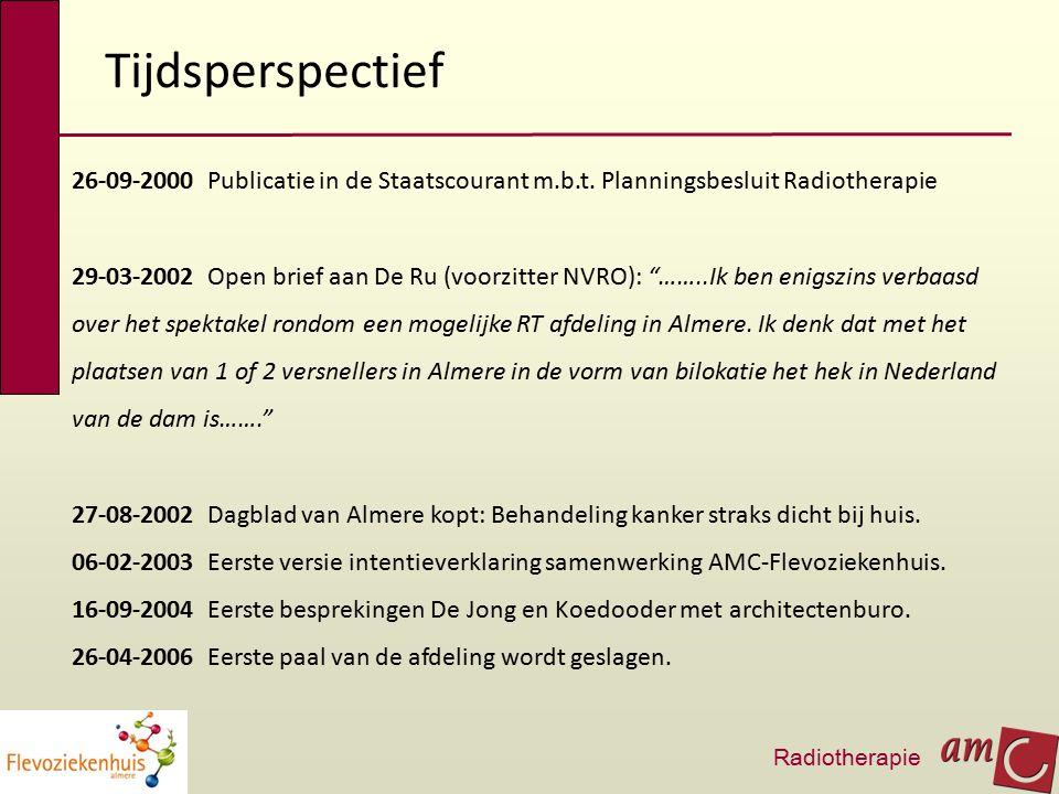 """Tijdsperspectief 26-09-2000 Publicatie in de Staatscourant m.b.t. Planningsbesluit Radiotherapie 29-03-2002 Open brief aan De Ru (voorzitter NVRO): """"…"""