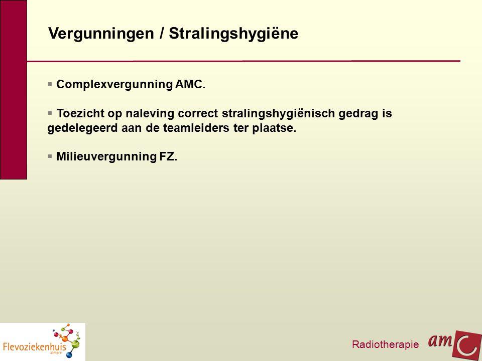Vergunningen / Stralingshygiëne  Complexvergunning AMC.  Toezicht op naleving correct stralingshygiënisch gedrag is gedelegeerd aan de teamleiders t