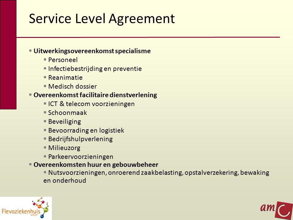 Service Level Agreement  Uitwerkingsovereenkomst specialisme  Personeel  Infectiebestrijding en preventie  Reanimatie  Medisch dossier  Overeenk