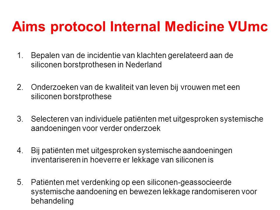 Aims protocol Internal Medicine VUmc 1.Bepalen van de incidentie van klachten gerelateerd aan de siliconen borstprothesen in Nederland 2.Onderzoeken van de kwaliteit van leven bij vrouwen met een siliconen borstprothese 3.Selecteren van individuele patiënten met uitgesproken systemische aandoeningen voor verder onderzoek 4.Bij patiënten met uitgesproken systemische aandoeningen inventariseren in hoeverre er lekkage van siliconen is 5.Patiënten met verdenking op een siliconen-geassocieerde systemische aandoening en bewezen lekkage randomiseren voor behandeling