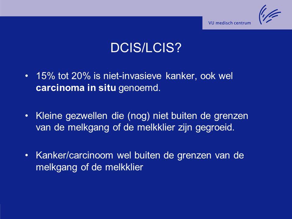 DCIS/LCIS. 15% tot 20% is niet-invasieve kanker, ook wel carcinoma in situ genoemd.