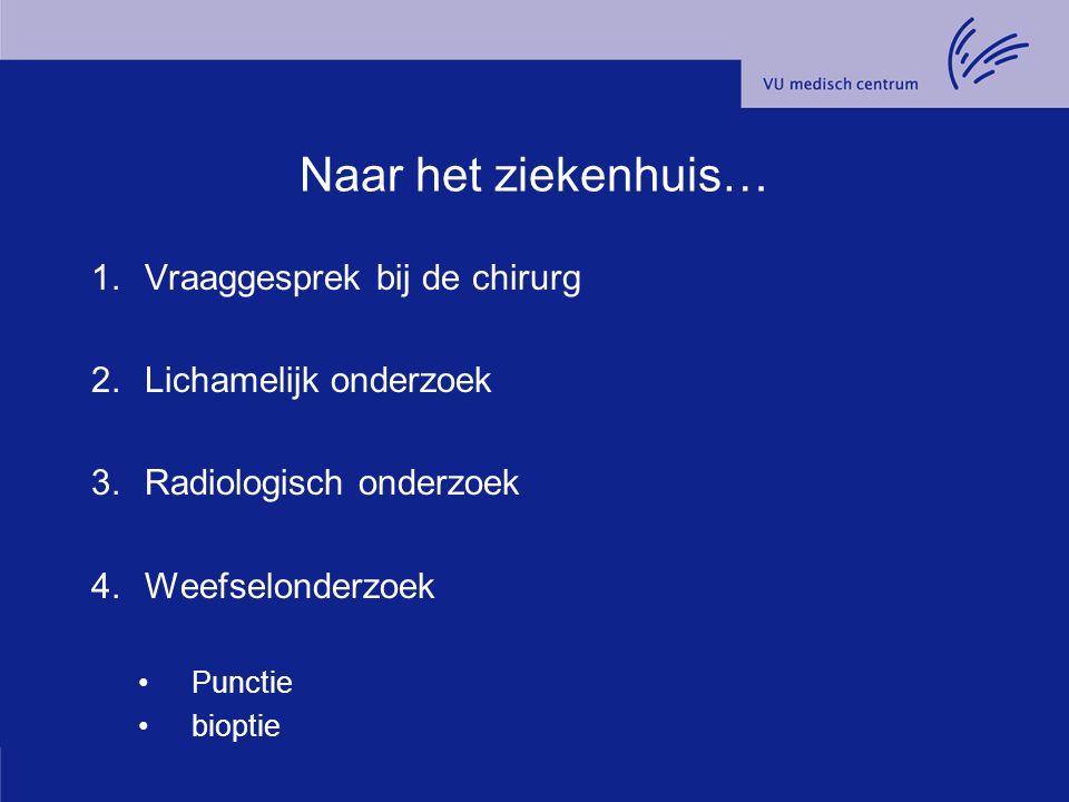 Naar het ziekenhuis… 1.Vraaggesprek bij de chirurg 2.Lichamelijk onderzoek 3.Radiologisch onderzoek 4.Weefselonderzoek Punctie bioptie