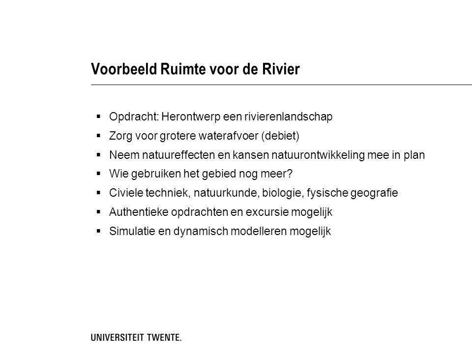 Voorbeeld Ruimte voor de Rivier  Opdracht: Herontwerp een rivierenlandschap  Zorg voor grotere waterafvoer (debiet)  Neem natuureffecten en kansen natuurontwikkeling mee in plan  Wie gebruiken het gebied nog meer.